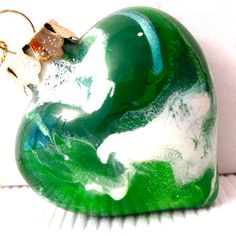 Green and White Glass Heart Ornament Hand by creationsbyjdb, $12.00