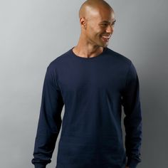 TREND: Long Sleeve Tee. Get yours in Heather Navy on http://sixthreads.com/collections/1-shirt/products/ric-x-dan-trepanier-the-perfect-dressy-tee-heather-blue-tri-blend #sixthreads #sixthreads #longsleevetee #longsleevetshirt #dressytee