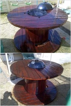 a cable wire spool made into a coffee table clock. | off things