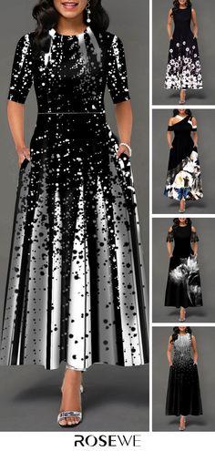 Hot Sale & Half Sleeve Round Neck Printed Maxi Dress – Diet and Slimming Dressy Dresses, Elegant Dresses, Beautiful Dresses, Black Dresses Online, Half Sleeve Dresses, Belted Shirt Dress, Glamour, Women's Fashion Dresses, Boho Dress