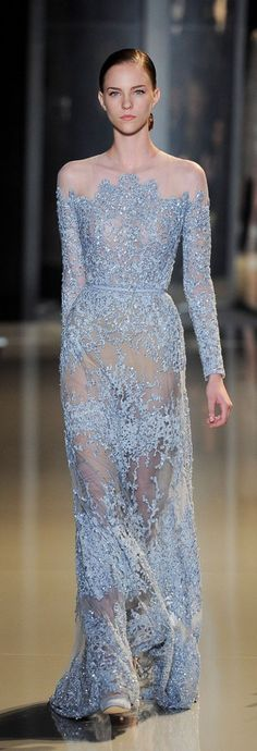 Elie Saab Stunning Lace off the Shoulder Gown Spring/Summer 2013