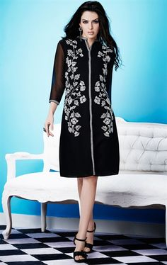 Picture of Mesmerizing Black and Off White Color Tunic