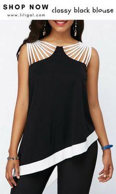 fba24cf6a7d Strappy Detail Black Asymmetric Hem Blouse  liligal  top  blouse  shirts   tshirt
