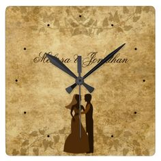 Brown Vintage paper and vines with Bride Groom Wedding Once upon a time Wall #Clock by #PLdesign #VintageWedding #WeddingGift