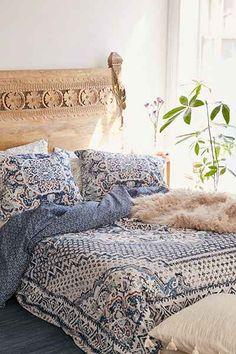 indigo and white boho duvet cover