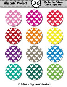 CUPCAKE TOPPERS Rainbow heart  Instant Download  by Mycuteproject