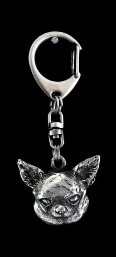 Chihuahua smooth haired dog keyring keychain by ArtDogshopcenter
