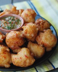 Trinidad Salt Cod Fritters with Pepper Sauce. A taste of the Caribbean from your own kitchen.