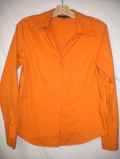 Jones New York Size 4 Orange Non Iron Long Sleeve Button Womens Dress Shirt #JonesNewYork #ButtonDownShirt #Versatile