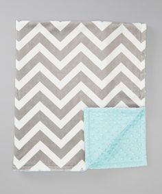 Another great find on #zulily! The Minky Boutique 28'' x 38'' Baby Blue & Gray Chevron Minky Stroller Blanket by The Minky Boutique #zulilyfinds