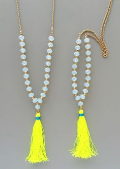 Yellow Neon Beaded Tassel Necklace – Pree Brulee