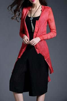 Ccbanny Red Silk Asymmetric Cardigan | Cardigans at DEZZAL Click on picture to purchase!