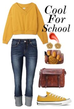 """""""Cool For School"""" by meganmcl ❤ liked on Polyvore featuring Converse, OPI, Miriam Haskell and Urban Decay"""