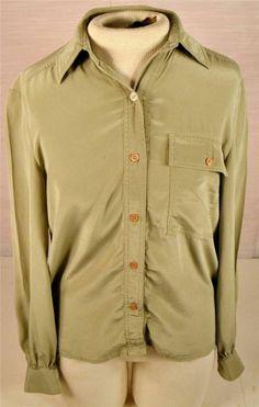 Gallant Size 6 Long Sleeve Green 100% Silk Blouse Shirt