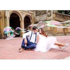 giant bubble engagement photo