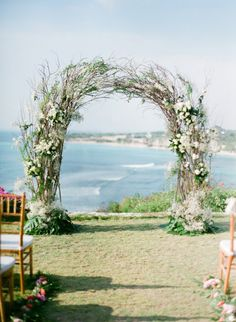 rustic wedding ceremony arch with the ocean as the backdrop Wedding Arch Rustic, Wedding Altars, Bali Wedding, Mod Wedding, Floral Wedding, Destination Wedding, Wedding Planning, Dream Wedding, Wedding Arches