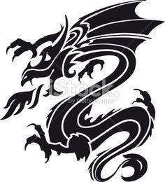 Dragon stencil Royalty Free Stock Vector Art Illustration