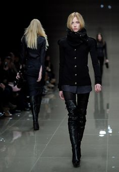 Tall Boots/fitted wool coats. Fall/Winter 2010: Burberry Prorsum. London, February 23, 2010.