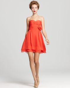 Nanette Lepore Coral Bridesmaid - Tap Tap Strapless Dress with nude heels