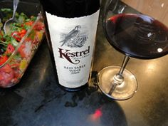 I rummaged through one of my three wine coolers to find a wine to pair with a simple dinner of black bean soup, chips, salsa and guacamole. I pulled out this bottle of Kestrel Vintner's Red Table Wine that has been hiding for a while--it must have been a Touring & Tasting wine club offering. So, here's the news--pair it with Mexican flavors for a big win!