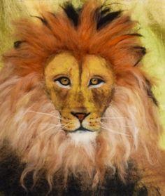 Wet felted lion www.feltiefare.com
