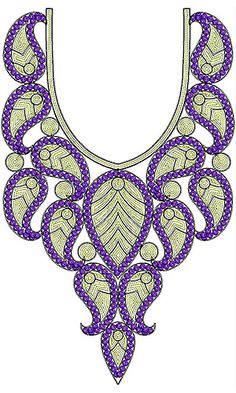 Paisley Designer Neck Sequins Cording Embroidery Design