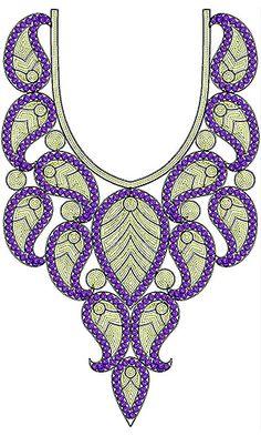 Paisley Designer Neck Sequins Cording Embroidery Design