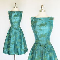 Vintage 1950s 60s Green Brocade Flocked Party Cocktail Dress