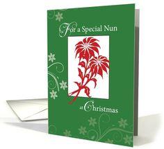 Christmas Blessings, Nun, Red Poinsettias on Green card