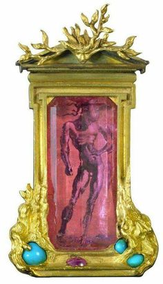 """""""Apollo and Daphné"""" brooch of gold, pink tourmaline, turquoise, and ruby by Verdura with miniature painting by Salvador Dalí"""