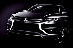 Mitsubishi is set to reveal its Outlander PHEV Concept S at the 2014 Paris Motor Show. The Outlander PHEV Concept S is a special model of the production ve Outlander Phev, Cars Uk, Suv Cars, Car Design Sketch, Car Sketch, Plug In Hybrid Suv, 2017 Mitsubishi Outlander, Upcoming Cars, Mitsubishi Motors