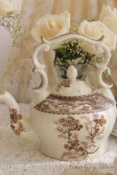 A Romantic 4:00 Tea... Brown Transferware...Carolyn Aiken