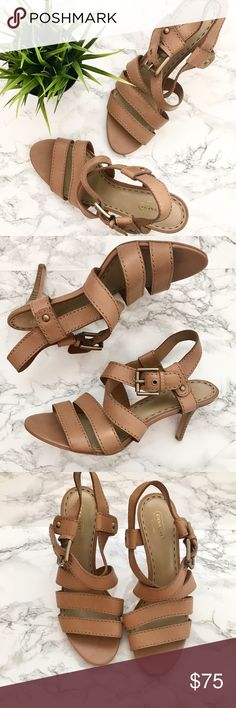 "Coach Leather Strappy Heeled Sandals EUC no flaws the only sign of wear is on the bottoms of these strappy Coach sandals. Super cute style that is fresh and classic. Perfect for Spring and summer! Great to wear casually or dress up. 3"" heels. Size 9.5. Natural leather color goes with anything. Please feel free to ask any questions before purchasing. I am happy to provide measurements/photos upon request! 😊  ❣️Open to Offers ❣️No Trades or Holds ❣️Smoke Free Home ❣️Bundle Discounts! 15% off…"