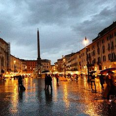 This photo was taken on a cold November evening in Rome Italy. Looking back at this plaza what caught my eye was the reflections on the wet stones against the soft evening sky.  As I admired the beauty of the city a thought crossed my mind. I realized that for one of the first times in my life I was alone. Alone in a city I didn't know hearing a language I didn't speak and seeing no one who knew me.  And then another thought crossed my mind - I was going to be just fine…