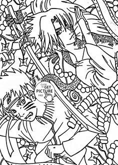 Naruto Vs Sasuke Anime Coloring Page For Kids Manga Pages Printables Free