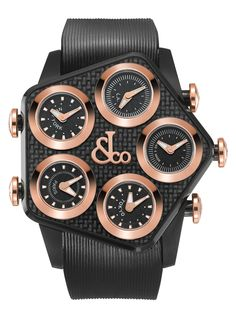 Jacob & Co   |   GL4-22   |   Size: 47 MM; Case: Black PVD Case, Black Carbon Fiber Case Top and Lug Inserts, Rose Gold Crowns (0.7314 gr.); Dial: Black PVD, Rose Gold Center logo (0.479 gr.); Bezel: Black Dials, Polished Rose Gold Bezels (1.797 gr.); Movement: Swiss Quartz ETA 956.112; Functions: Five Time Zones; Straps: Black Rubber Band with Rose Gold JC Logo on Buckle (0.827 gr.); Warranty: 2 Years; Water resistance: 50 M
