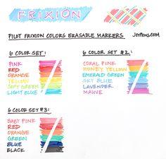 Pilot FriXion Colors Erasable Markers - 6 Color Set http://www.jetpens.com/Pilot-FriXion-Colors-Erasable-Marker-6-Color-Set-2/pd/10716
