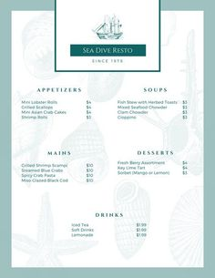 White Blue Seafood Food and Drink Menu