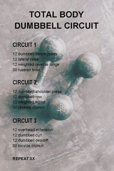 Total Body Dumbbell Circuit This is a dumbbell circuit workout to challenge both your cardiovascular system and your muscles. Strength and cardio covered in one workout. Fitness Workouts, Tabata Workouts, At Home Workouts, Fitness Tips, Hiit Workouts With Weights, Workout Circuit, Circuit Training Workouts, Fitness Planner, Workout Routines