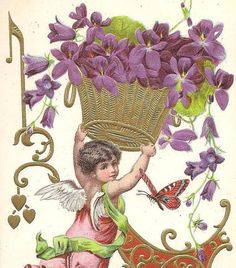 Cupid With Golden Basket of Purple Violets on by TheOldBarnDoor