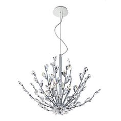 Endless blossomed branches of faceted hand cut crystal sculpted together on delicate polished chrome seamless frame all influenced by the simplicity of natures beauty. This is a great fixture for any room in the home.