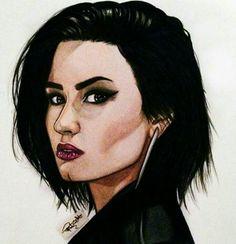 Demi Lovato I hope you like :) Cartoon Girl Drawing, Girl Cartoon, Cartoon Drawings, Cartoon Art, Demi Lovato, Selena Gomez, Portrait Cartoon, Celebrity Drawings, My Princess