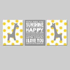 Giraffe Nursery Art - Set of Three 11x14 Prints - You Are My Sunshine - Polka Dot Giraffes - Choose Your Colors - Yellow, Gray, and More on Etsy, $59.50