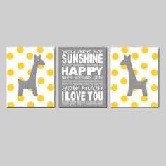 Giraffe Nursery Art - Set of Three 11x14 Prints - You Are My Sunshine - Polka Dot Giraffes - Choose Your Colors - Yellow, Gray, and More on Etsy, $59.50