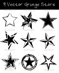 Buy 9 Grunge Vector Stars by rob_imx on GraphicRiver. 9 High Quality Grunge Stars – Vector Graphics All graphics are Vector EPS Illustrator 8 Nautical Star Tattoos, Star Tattoos For Men, Tattoos For Guys, Star Tattoo Designs, Tattoo Design Drawings, Star Designs, Body Art Tattoos, New Tattoos, Sleeve Tattoos
