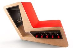 This multifunctional chair comes with storage facilities of up to eight wine glasses and 15 wine bottles.