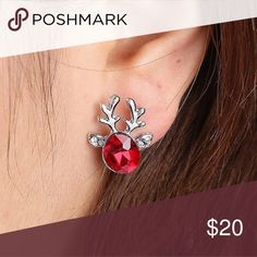They're Here! 🎁 Red Crystal Reindeer Earrings Red crystal set in Silver plated alloy.  Approximately 1.8 cm x 1.5 cm. Jewelry Earrings