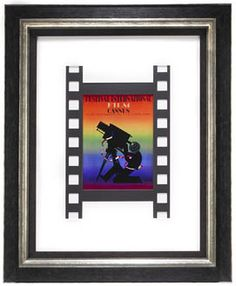 A custom piece that includes mats cut to resemble film and a playbook from the Cannes Film Festival. #customframing #cannesfilmfestival