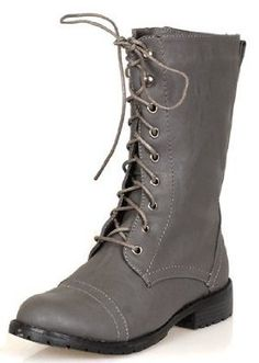 Hot Womens Riding Ankle-High Gray Combat Boots