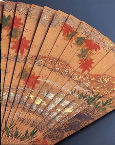 Japanese Cypress Fan, Muromachi period 14th-15th century - detail